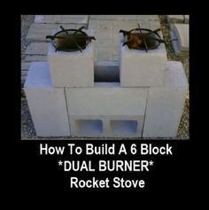 How To Build A 6 Block Dual Burner Rocket Stove - Homestead & Survival Diy Rocket Stove, Build A Rocket, Rocket Stoves, Homestead Survival, Survival Prepping, Emergency Preparedness, Emergency Kits, Survival Gear, Survival Skills