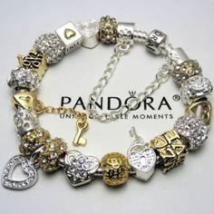 AUTHENTIC PANDORA BRACELET w/ Gold 22k plt Crystal Heart Dangle Euro Charm beads