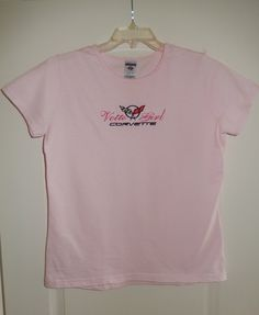 Vette Girl Corvette T Shirt C5 Ladies-Juniors XL Pink Machine Embroidered logo Car Apparel Crossed checkered Flags American made1997-2004 by NorCalCorvette on Etsy