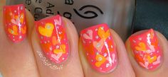 Cute pink/yellow hearts. http://www.thenailbuff.blogspot.com/2012/04/spring-challenge-love-and-life.html
