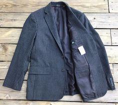 J.CREW Charcoal Gray 100% Wool Pinstripe Blazer Sport Coat Men's 40S NEW w/ Tags #JCrew #ThreeButton