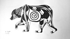 Bear Original Black Ink, Native American Inspired Drawing: Available Now