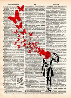 Banksy suicide woman and butterflies, street art vintage dictionary page art print, i like this piece as i like the way that Banksy work has been printed on to a page from a dictionary, i may do this in my artist book