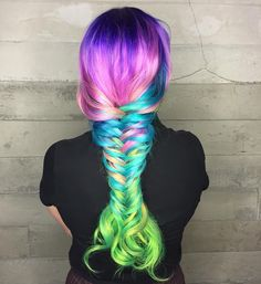 Braided Pravana hologram hair with fish tail! Mermaid a lot? Vivid Hair Color, Beautiful Hair Color, Cool Hair Color, Hair Colors, Diy Hair Dye, Dyed Hair, Diy Haarfärbemittel, Gisele Hair, Fantasy Hair Color