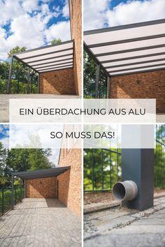 Hochwertiges Überdachung aus Aluminium mit Flachdach als Carport ✓ Pflegeleichte
