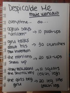 despicable me movie workout made by julia pharris. As much as Nathan wants to watch his show. Ill be fit in no time if I do this Disney Movie Workouts, Tv Show Workouts, Disney Workout, Fun Workouts, At Home Workouts, Netflix Workout, Summer Workouts, Netflix Tv, Workout Routines
