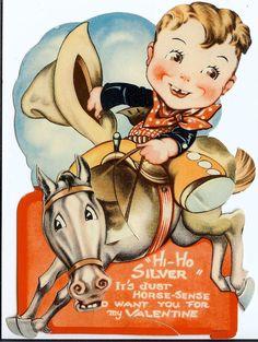Mechanical Valentine Card Young Cowboy Hi-Ho Silver
