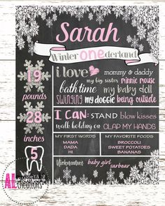 Winter ONEderland Chalkboard/Girl's First Birthday Chalkboard/First Birthday Poster/Baby's Birthday/Personalized Milestones/Custom Stats by ALMemorableCreations on Etsy poster Winter Onederland Birthday Chalkboard Girl First Birthday Winter, 1st Birthday Party For Girls, Winter Birthday Parties, Girl Birthday Themes, Birthday Ideas, Birthday Recipes, Birthday Board, Birthday Month, Birthday Decorations