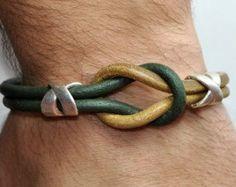 FREE SHIPPING - Mens Bracelet, Leather Men Bracelet, Mens Leather Bracelet,Light…