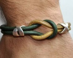 FREE SHIPPING - Mens Bracelet, Leather Men Bracelet, Men's Leather Bracelet,Light Brown- Green Leather Bracelet