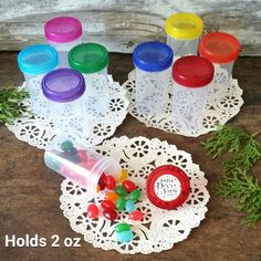 24 USA New Empty Party Favor Herb Craft Jars 2 oz See thru Pretty Color Caps Lid #DecoJarsSizeK4314
