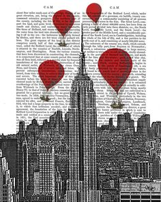 Empire State Building and Vintage Hot Air Balloons Art by FabFunky, $15.00