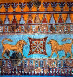 Arartian (Urartian) fresco, from the 8th century BC Erebuni fortress, Yerevan Armenia. An eternity wheel in the middle guarded by two lions, one of the insignia's of the kings of Armenia, possibly Argishti I, the founder of the Erebuni fortress.