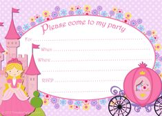 Free printable purple and pink Cinderella party invitation