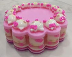 Image about photography in pink💗 by 𝕛𝕖𝕤𝕤𝕖 𝕕𝕒𝕣𝕜𝕠 ˚* Cute Snacks, Cute Desserts, Pretty Cakes, Cute Cakes, Kawaii Dessert, Hello Kitty Cake, Japanese Snacks, Tasty, Yummy Food