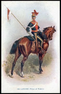 """12th LANCERS. """"Types of the British Army"""" Tuck pc No.8738. HARRY PAYNE art 1914 