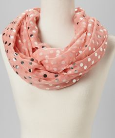 Pink & Silver Dot Infinity Scarf crisp canteloupe and silver foil paper