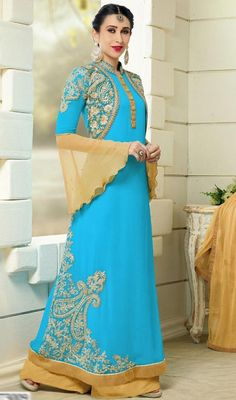 Eulogize your charm just like Karisma Kapoor dressed in this blue color georgette embroidered palazzo suit. You'll be able to see some interesting patterns completed with lace and resham work. #alluringpalazzosuits #anklelengthpalazzodress #bollywoodcollection2015