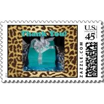 My client had a Tiffany Blue and Animal print theme and asked for matching Thank you postage and cards
