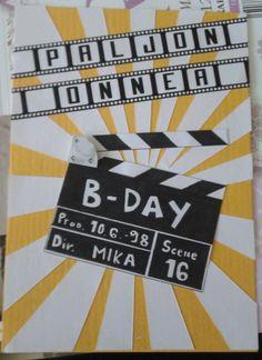 Elokuva-aiheinen syntymäpäiväkortti.