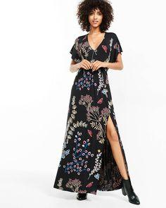 floral print surplice maxi dress