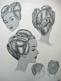 """Vintage Hairstyles Tutorial retrowunderland: Vintage Pin Up Hairstyles From """"The Art and Craft of Hairdressing - Baby Pony, Creative Hairstyles, Retro Hairstyles, Wedding Hairstyles, 1950s Fashion Hair, Rockabilly Makeup, 50s Makeup, Crazy Makeup, Makeup Art"""