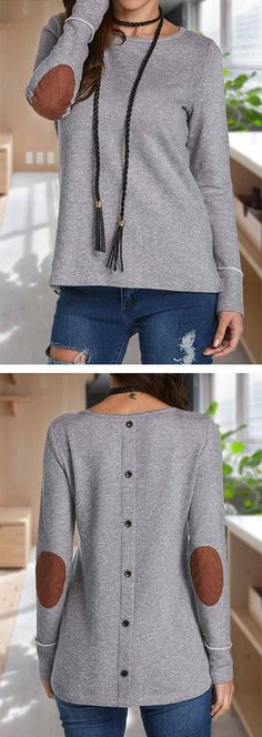 Patchwork Long Sleeve Grey T Shirt.