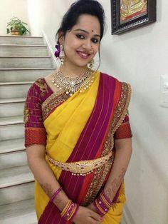 Telugu bride Tamil bride Kanchivaram Saree Heavy Diamond Jewellery
