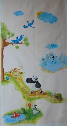 Tende dipinte a mano per la camera dei bambini http://ideeinatelier.blogspot.it/2016/04/tenda-con-kung-fu-panda-uomo-ragno-nemo.html