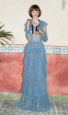 Vintage elegant feel ruffle dress at Gucci Pre-Fall 2016.
