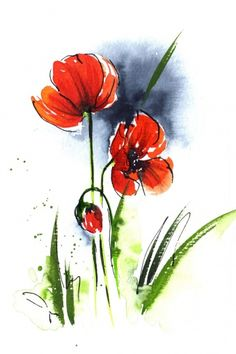 Watercolor Poppy, I would love this on the wall of my downstairs bathroom