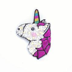 Unicorn Brooch Beaded Unicorn White Unicorn Embroidered