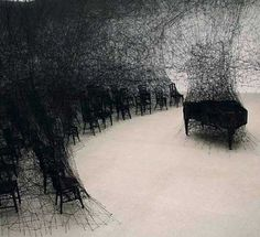 "Chiharu Shiota, In Silence, 2008. Work from Chiharu Shiota for exhibition Walking In My Mind exhibition ""featured miles of wool strung together to create complex, interrelating patterns and connections"". John Ingledew 2011"