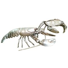 English Asprey Silver Lobster and Crab England 1960