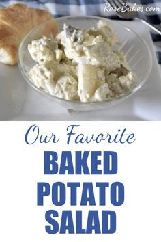 Our favorite (no onion) Baked Potato Salad - this classic potato salad has the staple mayo, mustard and eggs... but onions or relish.  It's made with baked pototoes which helps them keep them firm and we love keeping the skins on too! #potatosalad #potatoes #bakedpotatoes