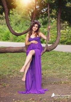Purple Split Chiffon Lace Maternity Gown by BoutiqueByAgnes