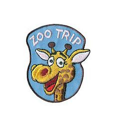 """Zoo Trip Fun Patch. Organize a trip for your Girl Scout troop to the zoo and make the """"Zoo Trip"""" Fun Patch a momento of the event. Available at MakingFriends.com"""