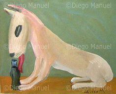 """""""perrito que lame una coca cola"""", acrylic on canvas, 18 x 23 cm. By Diego Manuel"""