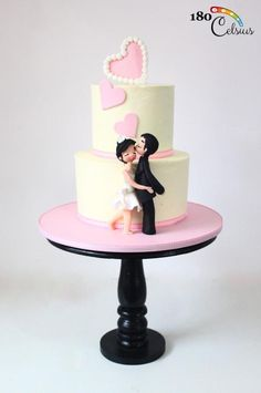 Lovey Dovey in the Air - Cake by Joonie Tan Cake Pictures, Cake Pics, Engagement Cakes, Lovey Dovey, Tiered Cakes, Mini Cakes, Cakes And More, Cake Designs, Amazing Cakes
