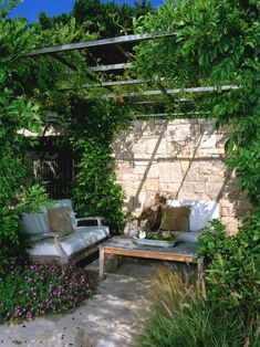 Modern Patio Design Ideas with Outdoor Nooks Back Corner and Simple Love Seats Shaded by Garden Pergola Outdoor Rooms, Outdoor Gardens, Outdoor Living, Outdoor Decor, Outdoor Furniture Small Space, Small Outdoor Spaces, Formal Gardens, Outdoor Photos, Lounge Furniture