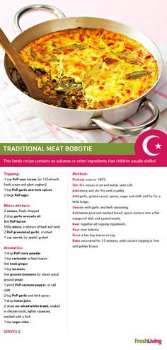 Bobotie, a casserole like dish consisting of minced meat and a egg based topping. This could be compared to other casseroles such as shepherds pie or lasagna, both of which are enjoyed in Canada. Banting Recipes, Meat Recipes, Cooking Recipes, Recipies, Oven Recipes, Cooking Ideas, South African Dishes, South African Recipes, Bobotie Recipe South Africa