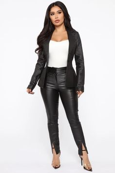 """Available In Black.PU Leather PantsHigh Rise 2 Side PocketsFront Slit Stretch Pair with """"Boss In Town PU Leather Blazer"""" Coating: Polyurethane Rayon Nylon Spandex Hot Outfits, Classy Outfits, Fashion Pants, Fashion Outfits, Fashion Tips, Fashion Clothes, Fashion Ideas, Women's Fashion, Leather Blazer"""