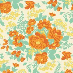 Joel Dewberry Fabric HEIRLOOM for Free Spirit - Rose Bouquet in Amber JD47 (Citrin palette) - 1 Yard Cut (More Available). $8.95, via Etsy.