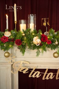 Christmas Flower Decorations, Whimsical Christmas, Wedding Decorations, Table Decorations, Garland Wedding, Diy Wedding, Wedding Ideas, Large Flower Arrangements, Pink Aesthetic
