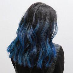 Bluehair hair color pravana blueombre ombre colorombre blue by mizzchoi cut Hair Color 2017, Hair Dye Colors, Ombre Hair Color, Cool Hair Color, 2018 Color, Dye My Hair, New Hair, Blue Hair Highlights, Blue Hair Streaks