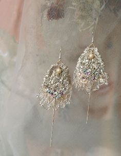 Icy Glamour- unique elegant hand embroidered earrings from vintage textiles and fine mohair swarovski crystals and chains