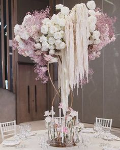 A gorgeous and beautiful mix of different blush and white florals for this Modern Floral Arrangements, Floral Centerpieces, Wedding Centerpieces, Wedding Table, Flower Arrangements, Reception Decorations, Event Decor, Flower Decorations, Deco Floral