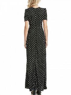 Black V-neck Polka Dot Print Short Sleeve Split Maxi Dress Polka Dot Maxi Dresses, Prom Dresses, Dresses For Work, Summer Dresses, Maxi Dress With Slit, Chiffon Maxi Dress, Garment Manufacturing, Party Frocks, Grunge Look