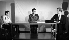 Mark Ashin (Ariel), Billy Saunders Jr. (Katurian), and Brendan McMahon (Tupolski). Photo by Clare Lockhart.