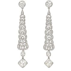 A pair of Art Deco diamond pendant earrings of articulated, tapering design, terminating in a square cut diamond suspending a round diamond,. Art Deco Jewelry, High Jewelry, Jewelry Gifts, Jewelery, Vintage Jewelry, Jewelry Design, Diamond Pendant, Diamond Jewelry, Diamond Earrings